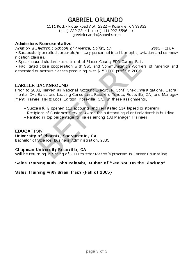 resume editing samples