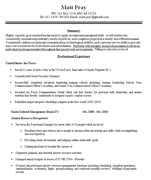 military resume sample - Sample Military Resume