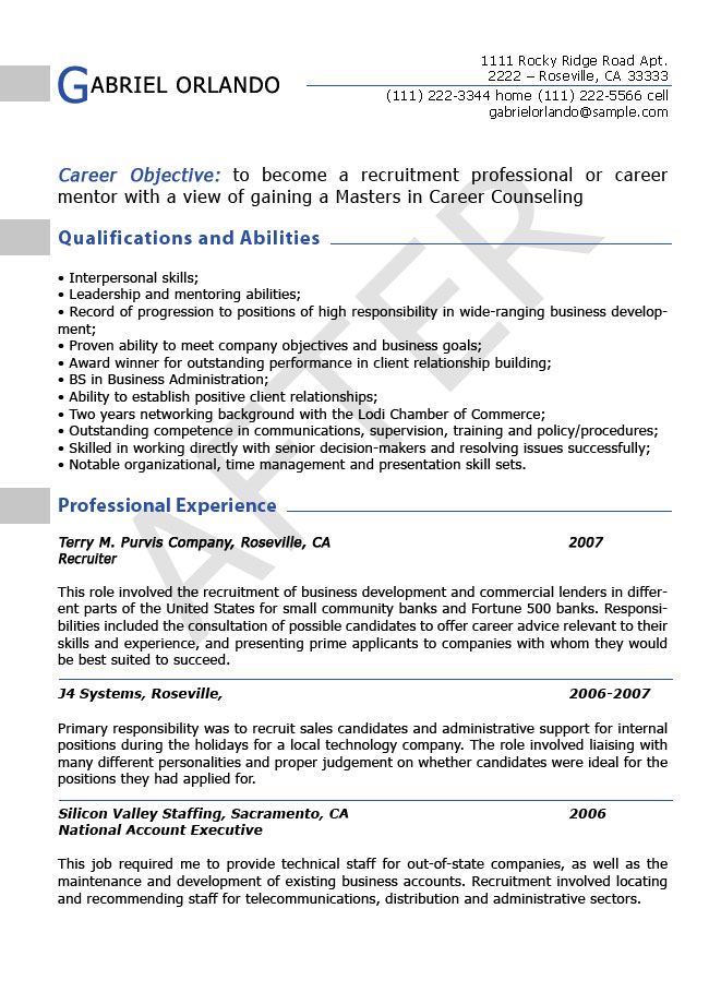 resume editing sample after